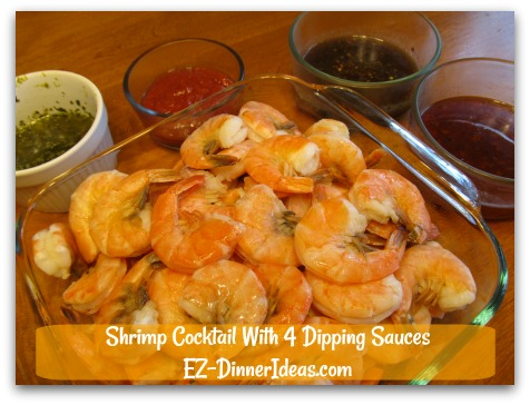 Shrimp Cocktail With 4 Dipping Sauces - Increase or decrease number of sauces to serve this plate