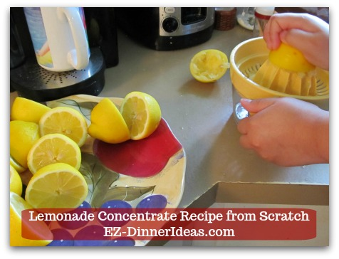 Lemonade Concentrate Recipe from Scratch - Juice 9 Regular Lemons or 5 Jumbo Lemons
