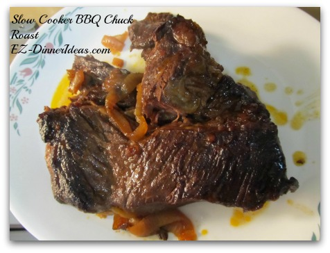 Slow Cooker BBQ Chuck Roast - Take out the meat and/or onion and put into a separate dish