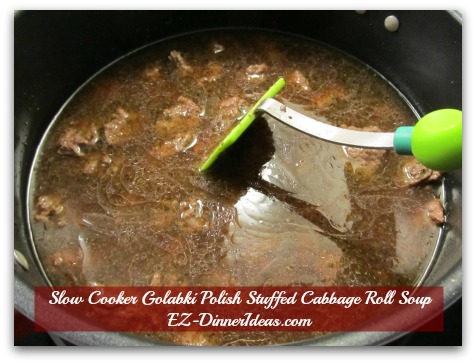 Slow Cooker Golabki Polish Stuffed Cabbage Roll Soup - Pour in beef stock and use a spatula to pick up the brown bits