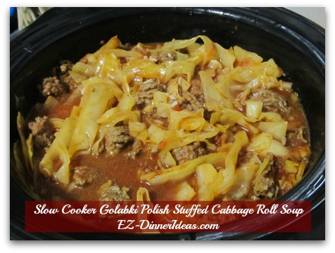Slow Cooker Golabki Polish Stuffed Cabbage Roll Soup - All ingredients reached to the rim of the slow cooker.  Once it is cooked, the amount will shrink to perfect portion.