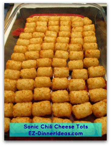 Sonic Chili Cheese Tots - Single layer potato tots on a baking sheet and squeeze in as many as you can