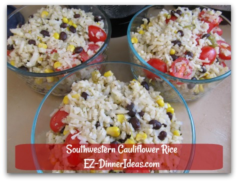Southwestern Cauliflower Rice - Great for lunch to work or school