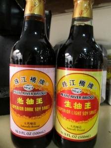 Dark and light Chinese soy sauces