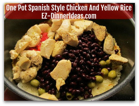 One Pot Chicken Recipe - 5 minutes before rice is cooked, stir in chicken and the rest of the ingredients into the pot