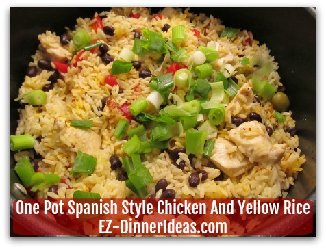 One Pot Spanish Style Chicken And Yellow Rice - Cook another 5 minutes under cover and garnish with scallions/cilantro.  Enjoy!