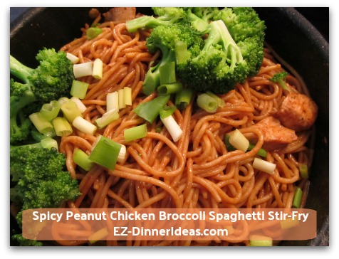 Spicy Peanut Chicken Broccoli Spaghetti Stir-Fry - Add broccoli and scallion to garnish.  ENJOY!