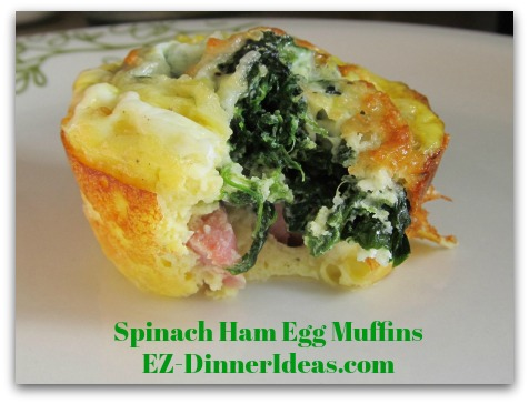 Spinach Ham Egg Muffins - Microwave thawed egg muffin for 15-20 seconds and enjoy