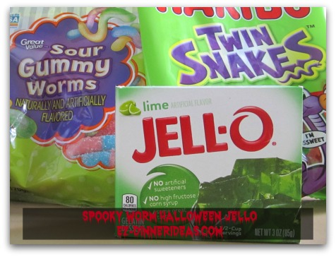 Spooky Worm Halloween Jello - Jello mix and gummy worms are the 2 main ingredients of this fun recipe.