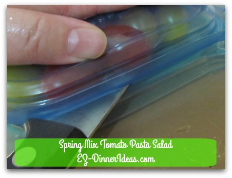 Spring Mix Tomato Pasta Salad - Press down on the top lid gently and have a sharp knife to cut through between both lids