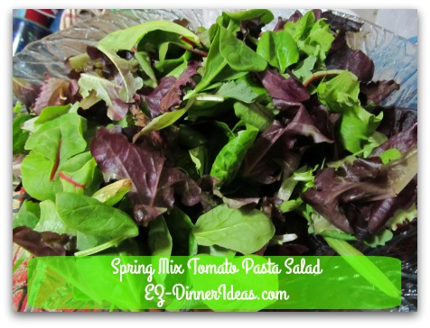 Spring Mix Tomato Pasta Salad - Transfer pre-washed spring mix to a big salad bowl