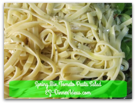 Spring Mix Tomato Pasta Salad - Toss to coat with dressing