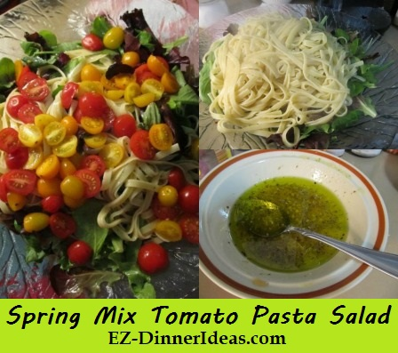 Spring Mix Tomato Pasta Salad, make pasta ahead of time and assemble everything together whenever you are ready.  Dinner happens in a snap.