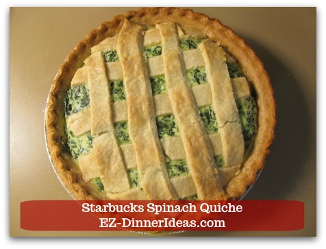 Starbucks Spinach Quiche - Bake in 325F for 45-50 minutes until knife inserted in the center and comes out clean.
