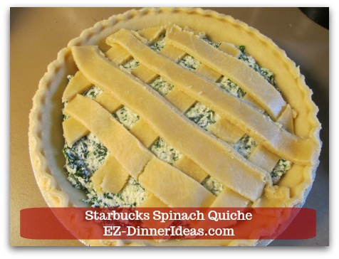 Starbucks Spinach Quiche - Feel free to use egg wash (optional) to brush on pie crust before baking.