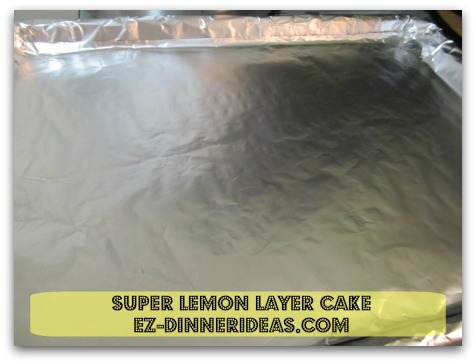 "Lemon Cake Mix Recipe | Super Lemon Layer Cake - Line a 16"" x 11"" baking sheet with aluminum foil for easy clean up"