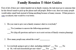 Family Reunion T-Shirts Project Planning Guide