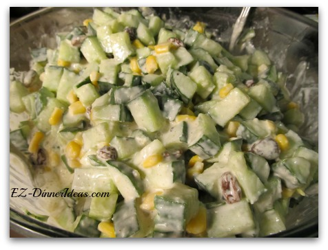 Tasty Cucumber Corn Salad - All my friends and families are crazy for this salad recipe.  The applesauce and cinnamon made the taste popped.