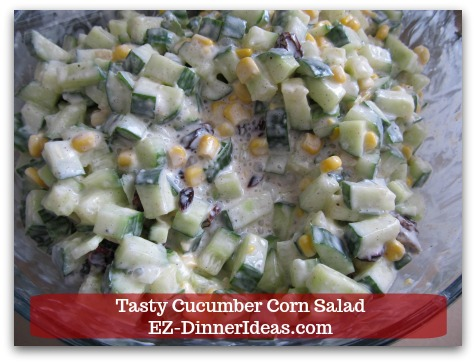 Best Cucumber Salad Recipe | Tasty Cucumber Corn Salad - Toss to combine everything together.