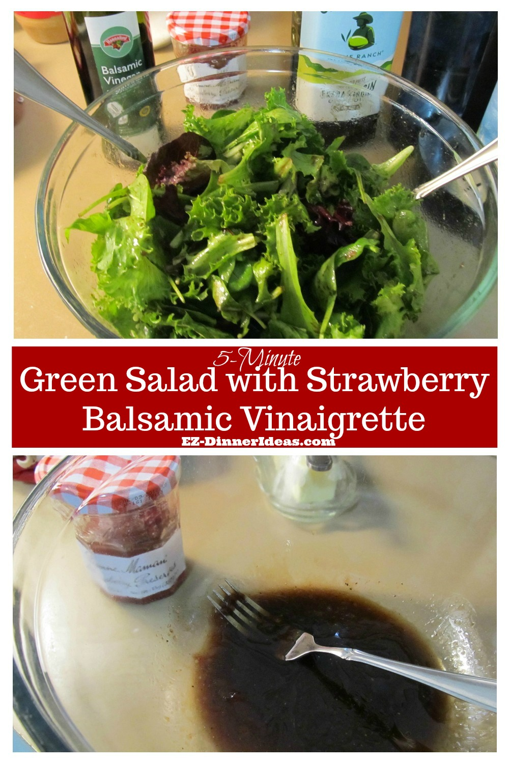 This tossed green salad recipe only takes 5 minutes to make.  It can be an awesome family side dish, a lunch or a dinner for one.
