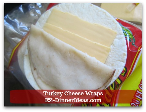 Easy Breakfast Idea | Turkey Cheese Wraps - Add turkey and cheese on a piece of taco slider and fold it into halves.