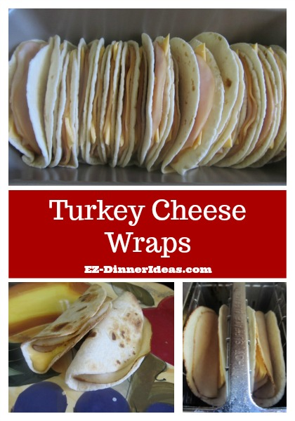 Turkey Cheese Wraps - This easy breakfast idea is super versatile.  You can make one to 20 servings.  They are great for on-the-go breakfast and a BIG money saver.