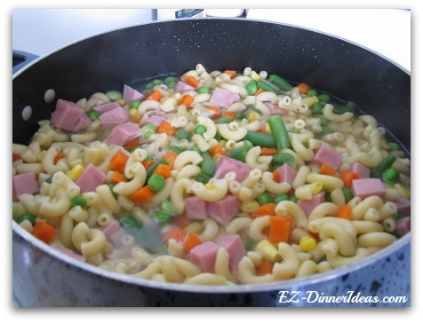 Vegetables Ham Macaroni Bowl
