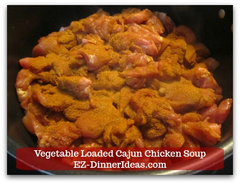 Kale Chicken Soup | Vegetable Loaded Cajun Chicken Soup - Brown chicken in the soup pot and add another tbsp Cajun seasoning in.