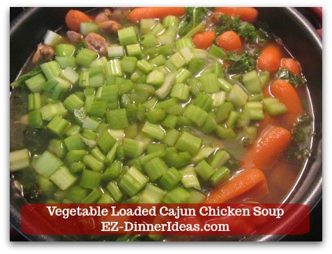 Kale Chicken Soup | Vegetable Loaded Cajun Chicken Soup - Add diced celery and cook for another 3-5 minutes until crisp tender.
