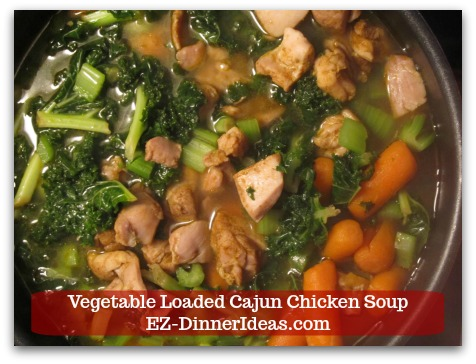 Kale Chicken Soup | Vegetable Loaded Cajun Chicken Soup - Salt and pepper to taste and enjoy immediately.