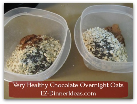 Very Healthy Chocolate Overnight Oats - Combine salt, oatmeal, cocoa powder and chia seeds in a food container