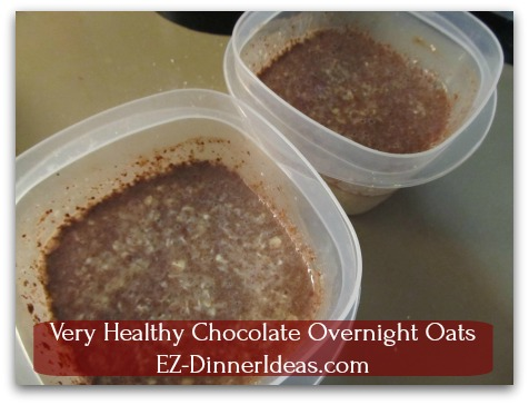 Very Healthy Chocolate Overnight Oats - Stir to combine all ingredients together