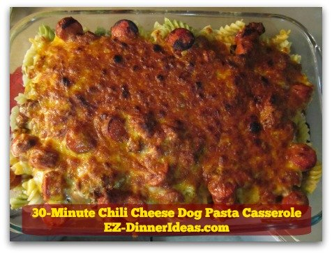 30-Minute Chili Cheese Dog Pasta Casserole - Dinner is that easy