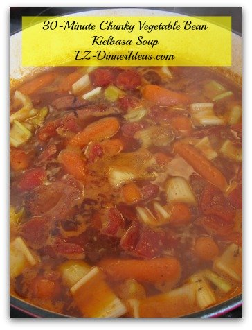 30-minute chunky vegetable bean Kielbasa soup, a make-ahead meal and stay in room temperature for 2-3 days?  It sounds crazy.  But it is ABSOLUTELY possible and doable.