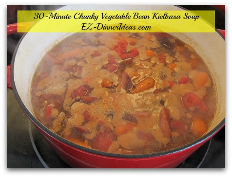 30-Minute Chunky Vegetable Bean Kielbasa Soup - If this is a make-ahead meal, you can cover it and turn off heat once the soup comes to a rolling boil.