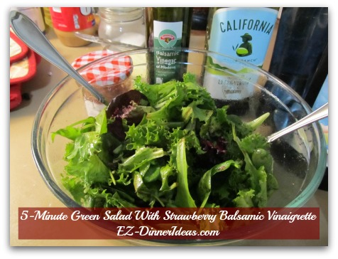 5-Minute Green Salad With Strawberry Balsamic Vinaigrette - Add vegetables on top of dressing