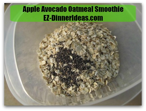 Apple Avocado Oatmeal Smoothie - Combine rolled oats, Chia seeds and salt