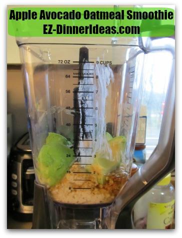 Apple Avocado Oatmeal Smoothie - Seeded, peeled and quartered avocado