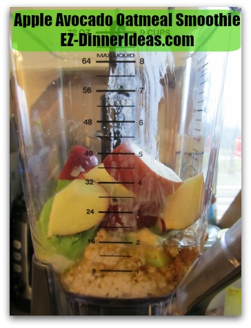 Apple Avocado Oatmeal Smoothie - Cored and quartered apple; blend to desired smoothness