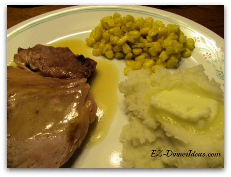 Baked Ham Dinner with Fruit Cocktail Gravy, Creamy Mashed Potatoes and Sweet Corns