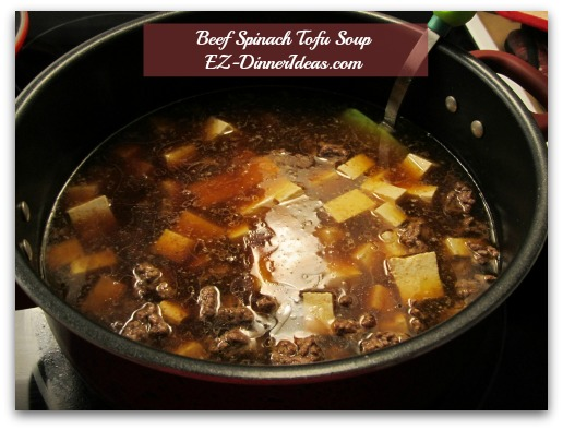 Beef Spinach Tofu Soup - When broth is boil, add tofu