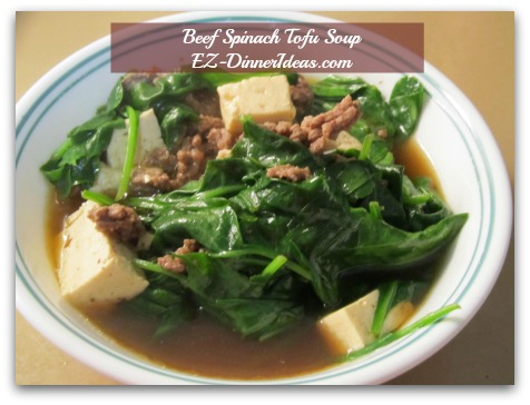 Beef Spinach Tofu Soup - Salt and pepper to taste and serve immediately