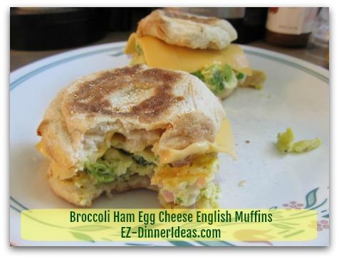 Back To School Recipes - Broccoli Ham Egg Cheese English Muffins