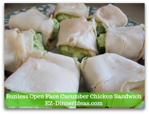 Easy No Cook Snack | Bunless Open Face Cucumber Chicken Sandwich