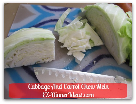Cabbage And Carrot Chow Mein - Thinly slice cabbages
