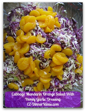 Cabbage Mandarin Orange Salad With Honey Garlic Dressing - This recipe has a Asian touch with mandarin orange and honey garlic dressing.  It is great for serving a big crowd in a dinner party.