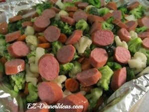 California Blend Vegetables Kielbasa before going into the oven