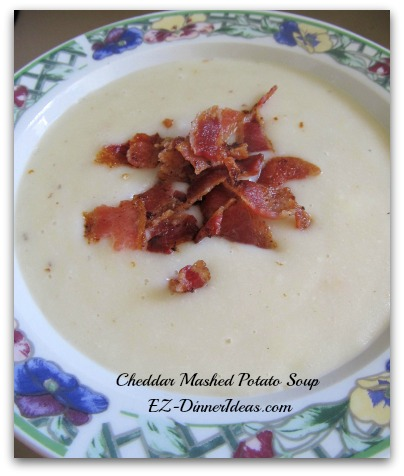 Fast One-Pot Recipe | Creamy Cheddar Cheese Potato Soup - Use pre-cooked bacon to save more cooking time.