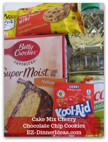 Cookie Recipe Using Cake Mix | Cake Mix Cherry Chocolate Chip Cookies - 3 main ingredients: Yellow Cake Mix, Cherry Drink Mix and Mini Chocolate Morsels.