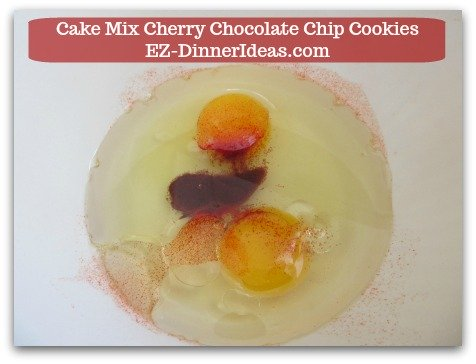 Cookie Recipe Using Cake Mix | Cake Mix Cherry Chocolate Chip Cookies - Whisk together eggs, oil and drink mix.